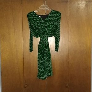 Professional Green Patterned Dress